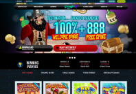 The homepage of Paradise 8 casino