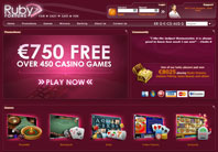 ruby fortune online casino homepage screenshot